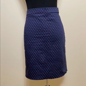 J crew navy polka dot pencil skirt